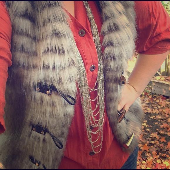 MICHAEL KORS brown/grey fur vest!