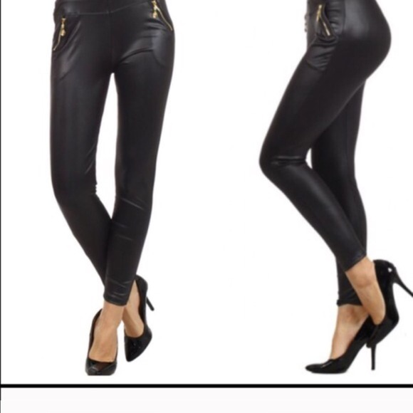 ad7ea3d18e0095 Faux leather gold zipper trim leggings. M_54624a97bb27a4474e45fbe3