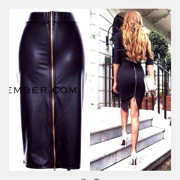 25% off boutique Dresses & Skirts - Black Long Zippered Skirt faux ...