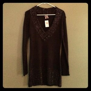 Metallic brown Vanity buttoned sweater dress large
