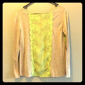 🚫SOLD💗 AE Tan with lime green lace top 💗