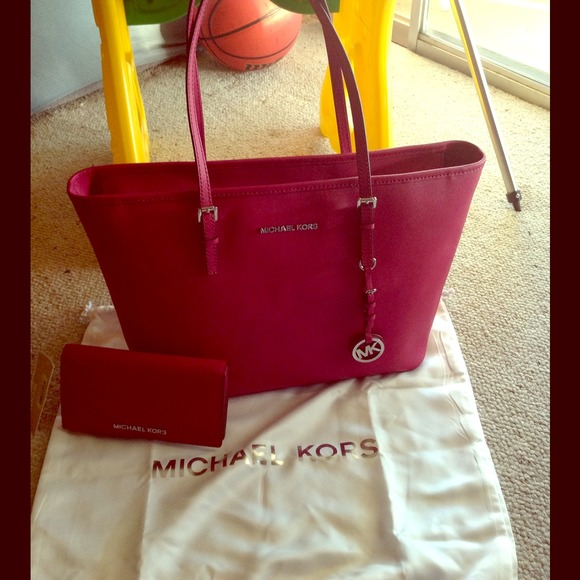 4% off Michael Kors Handbags - MK purse and wallet set (deep pink ...