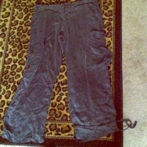 Pants - Silky gently worn gray saggy capries