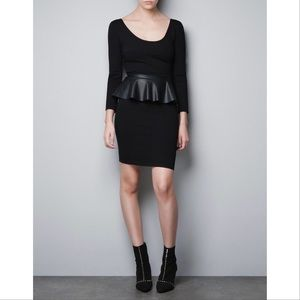 Zara Long sleeve leather peplum trim dress size S