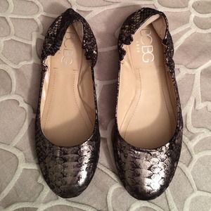 BCBG Shoes - BCBG Metallic Snake Print Flats