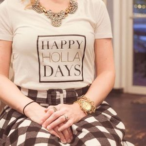 Happy HOLLA Days Graphic Typographic Tee