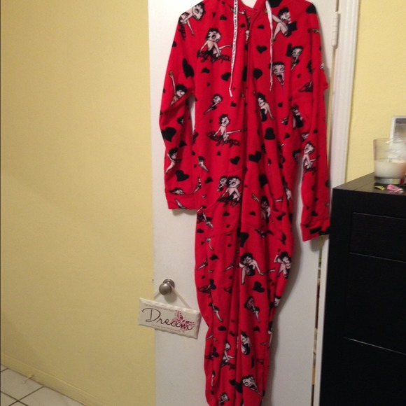 Betty Boop Footed Pajamas Nwt Hooded Footed Betty Boop