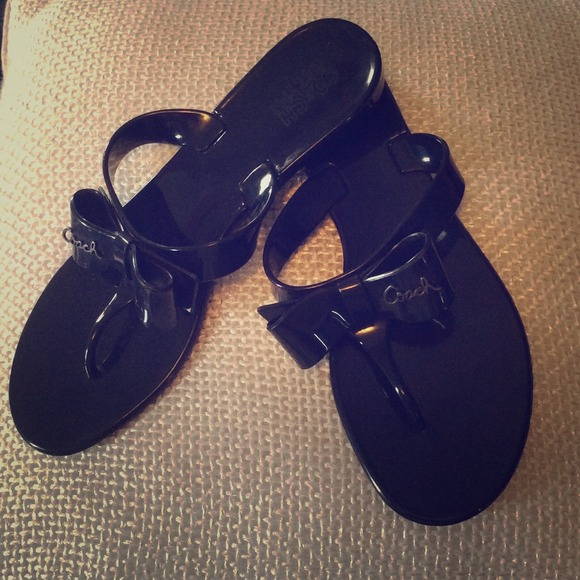 Coach - New Listingblack Jelly Coach Bow Flip Flops From -1371