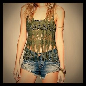 Olive Green Free People Fringe Crop Tank