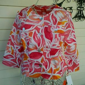 NWT Colorful twill rose jacket
