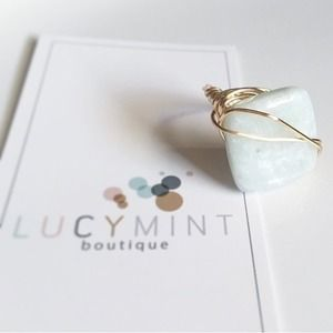 Natural Amazonite Stone Wire Wrapped Ring