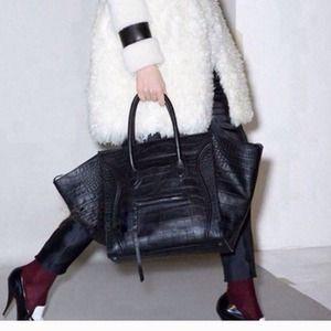 celine cabas phantom bag price - 58% off Handbags - Celine inspired, black, faux crocodile handbag ...