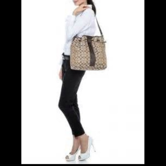 77% off Coach Handbags - 💯COACH SIGNATURE STRIPE DRAWSTRING ...