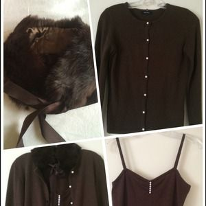 Sweater Cardigans set with rabbit fur collar