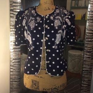 Jackets & Blazers - Vintage Navy Blue Floral Crop Jacket | Blazer | M