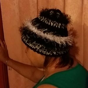 Other - Hand knitted black and white hat