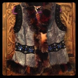 Gray Faux Suede w/Real Multi Colored Fur Ruffles