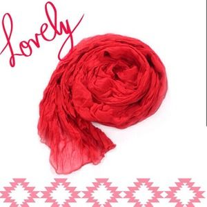 Accessories - NEW Lightweight Sheer Crinkle Scarf in Crimson