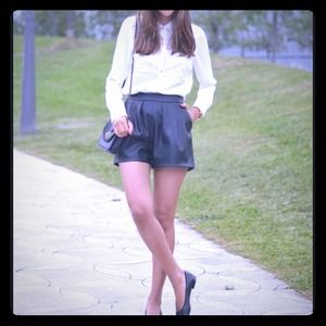 Zara black leather shorts