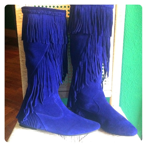 70% off Sam Edelman Boots - Sam Edelman Utah fringe boots blue ...