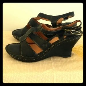 LOWEST*Born Black Leather Wedge Sandals