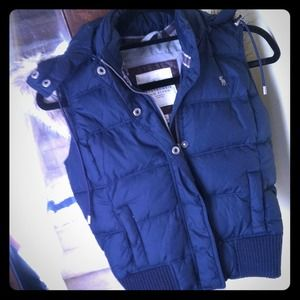 Abercrombie & Fitch navy vest with removable hood