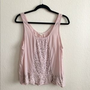 American Eagle blush pink sequined tank top