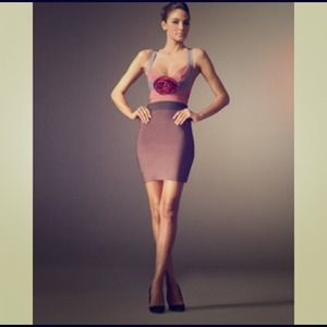 Authentic Herve Leger Rosette Runway Dress