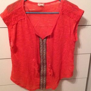 Coral embroidered shirt