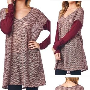 The DANNY chevron top - BURGUNDY