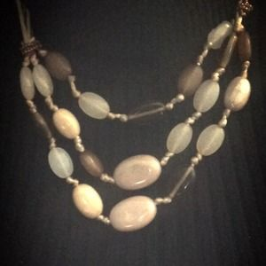 Jackets & Blazers - Tan and brown 3-strand Necklace