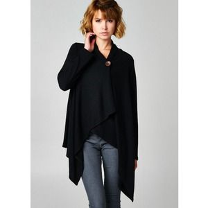 "Bare Anthology Jackets & Blazers - ""Button Up"" Asymmetrical Black Cardigan"