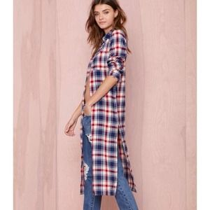 "Bare Anthology Tops - ""Check Me Out"" Plaid Maxi Shirt"