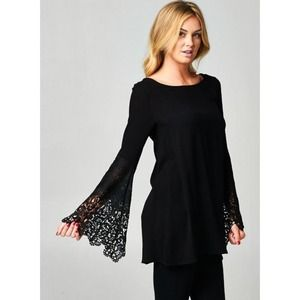 """Laced Promise"" Bell Sleeved Black Top"