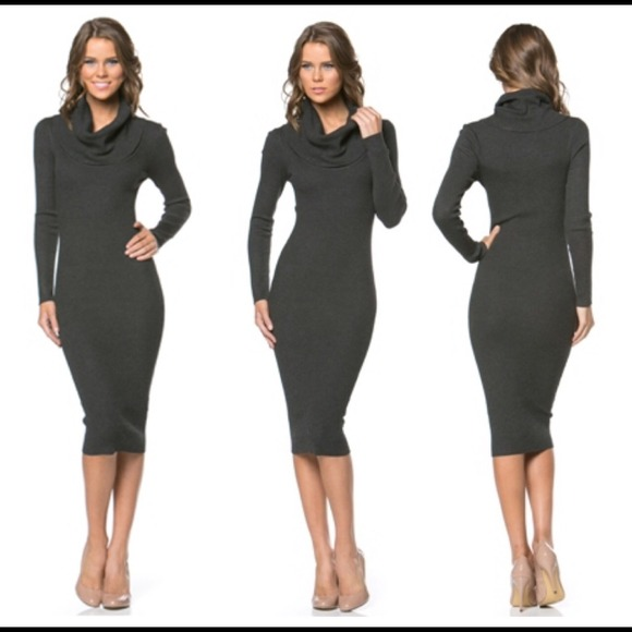 570c29ea5e80 Dresses   Skirts - Medium charcoal grey midi turtleneck tight dress