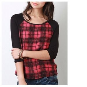 🎉HP🎉Red Black Plaid Baseball Jersey Top