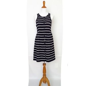 J Crew navy white stripe Dress- buttons in front