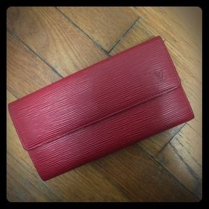 Louis Vuitton red epi wallet