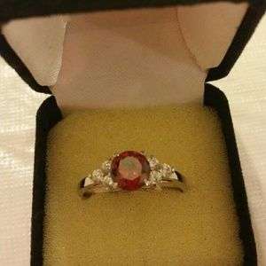 Jewelry - Red ruby ring with diamonds fashion platum