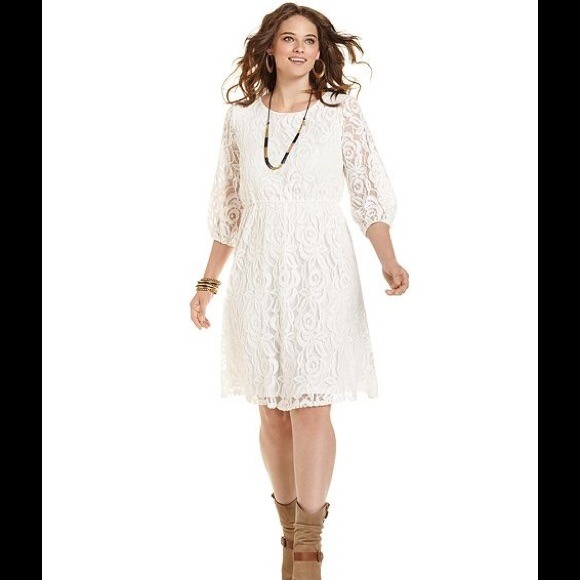 ING Dresses | Macys Plus Size White Lace Dress | Poshmark