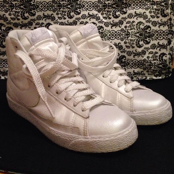 93e259e6605 Nike Air Royalty Satin White High Top Sneakers. M 5466f42bf024f273ab19d05d