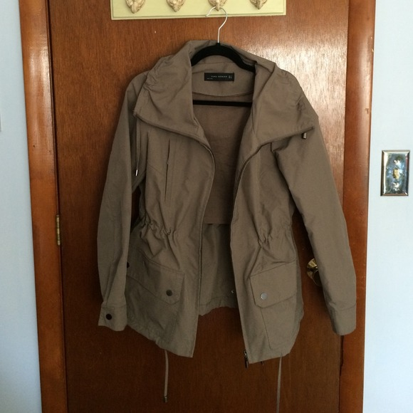 79% off Zara Outerwear - Zara Taupe Waterproof Jacket Size Small ...