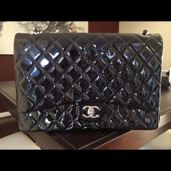 5ca8c7d9084df1 CHANEL Bags | Sold Maxi Black Patent Flap Bag | Poshmark