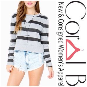Tops - Striped Crop Sweatshirt