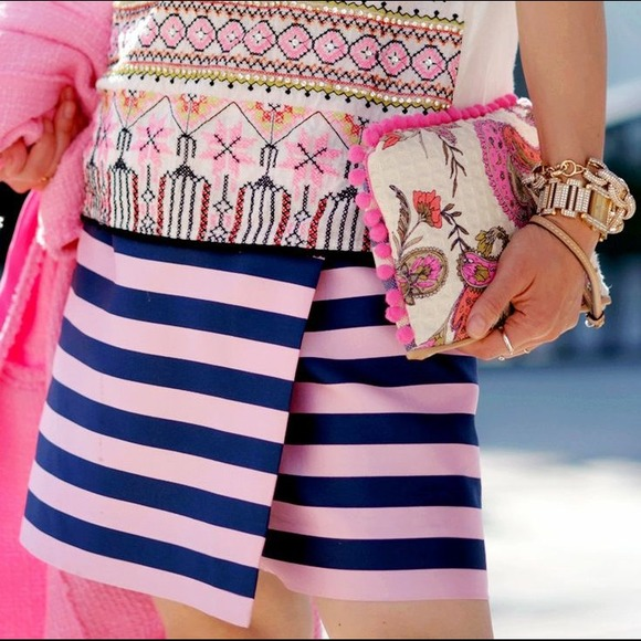 J. Crew Skirts - J.Crew pink and navy striped skirt