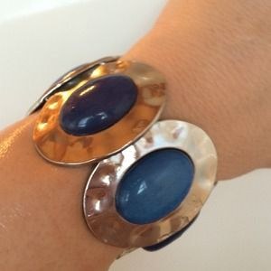 Jewelry - Navy & Lite Blue Stones on a Silver-Toned Bracelet
