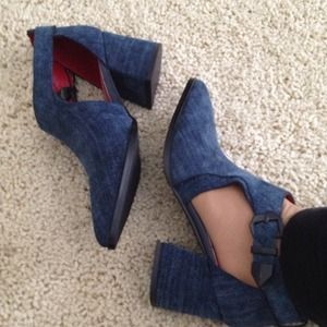 Charles David, REDUCED blue suede booties
