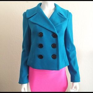 Turquoise Double Breasted Peacoat