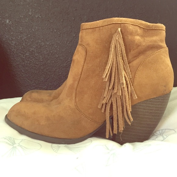 80% off Mossimo Supply Co. Boots - Tanned fringe booties from ...