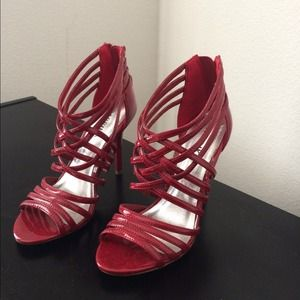 Shoes - Red Patent Caged Heels